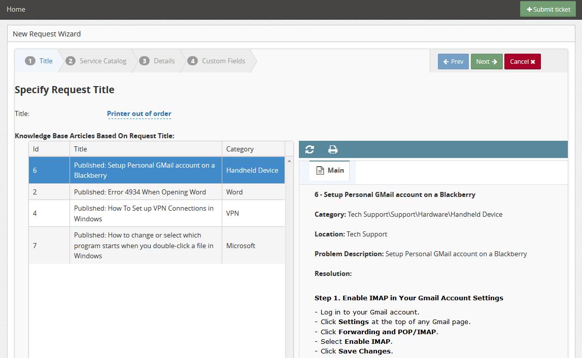 ServicePRO Web End User Portal - Knowledge Base